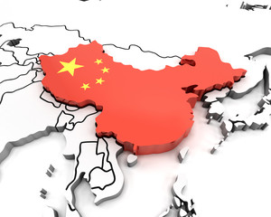3d china map with national flag