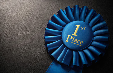 First place award rosette with copy space
