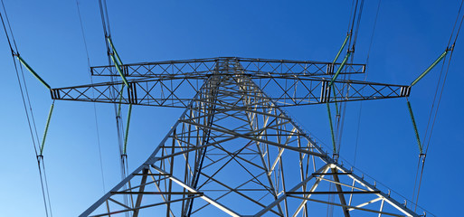 Tower of an overhead power line in winter