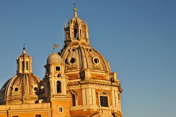 Tramonto romano -  Santa Maria di Loreto e SS nome di Maria