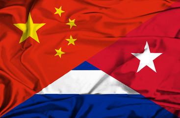 Waving flag of Cuba and China
