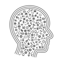 Silhouette head with icons