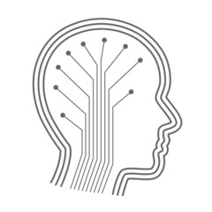 Silhouette head with the neural connections