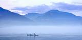 Schwertwale in Landschaft, Killerwal bzw Orca, Orcinus orca