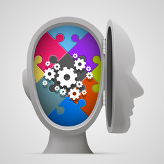 Puzzle and gears in the open head