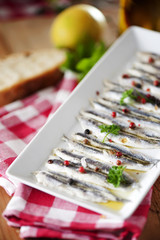 Anchovies marinated