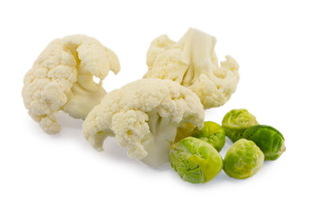 brussels sprouts and cauliflower isolated on white background