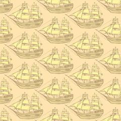 Sketch sea ship in vintage style