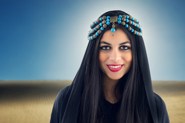 Arabian Girl wearing Traditional Headscarf,