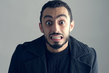 Man with a surprised facial expression, Surprise,