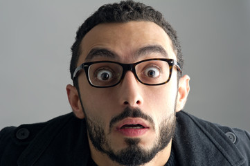 Man with a surprised facial expression, Surprise expression..