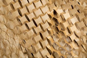 Closeup of brown paper packaging