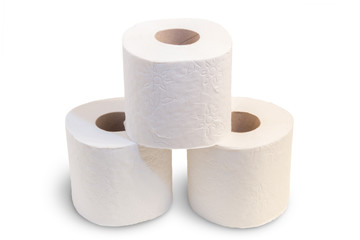 Closeup of three toilet rolls stacked, isolated on white