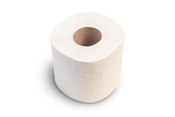 Closeup of one toilet roll, isolated on white background