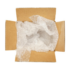 Top view of carton box with bubble pad