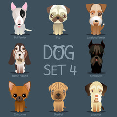 Dogs Set 3. Vector breed of dogs