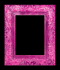 antique pink frame isolated on black background, clipping path