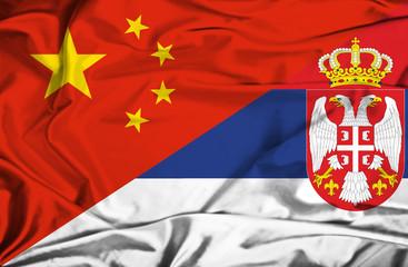 Waving flag of Serbia and China