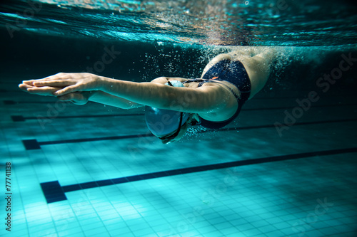 Female swimmer at the swimming pool.Underwater photo.
