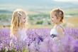 happy girls in field
