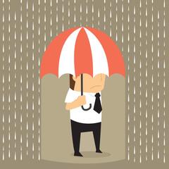 Unlucky businessman being wet from raining instead he holding um