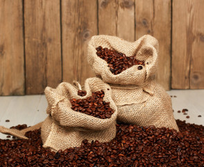 close up of jute bag full of coffee beans
