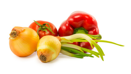 onions, tomatoes and red peppers isolated on a white background