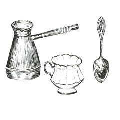 Turk, cup, spoon