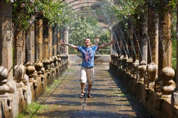Happy man in the Alfabia garden