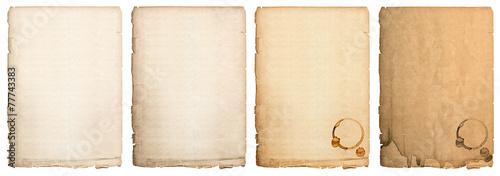 Leinwandbild Motiv aged paper sheet isolated on white background. used book page