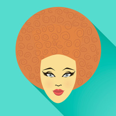 Flat style illustration girl icon. EPS 10 vector.