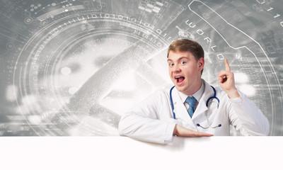 Doctor presenting banner