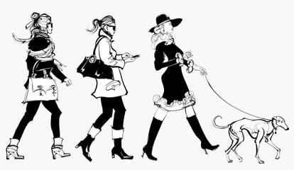 women walking in a street