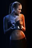 girl in metal handcuffs