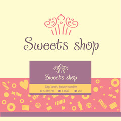 Vector logo, business card for a candy store. Background of