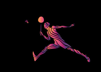Silhouette of stylized badminton player on black background
