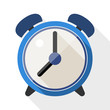 Alarm clock flat icon with long shadow on white background