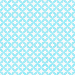 Teal and White Interconnected Circles Tiles Pattern Repeat Backg