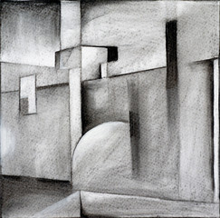 an abstract charcoal drawing