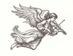 Ангел со скрипкой, графика.