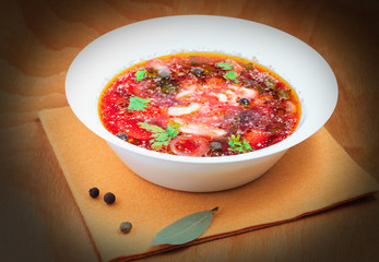 Delicious russian borsch on the table
