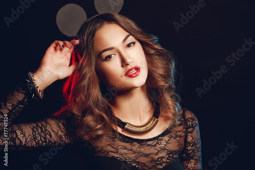 Portrait of beautiful girl with round ears mouse on the head. Poster