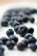 Blueberries on white plate, shallow dof