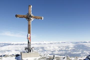 Top Of Gold Corner 2142m Summit Cross In Winter
