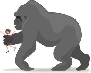 giant ape takes woman