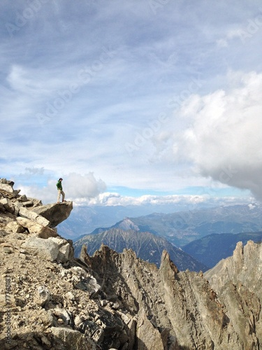 canvas print picture Man on top of mountain