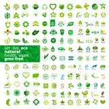 big set of vector logos ecology, health, natural poster