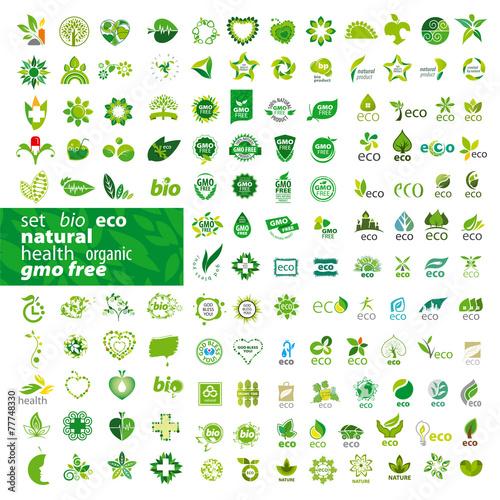 Zdjęcia na płótnie, fototapety, obrazy : big set of vector logos ecology, health, natural