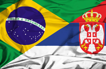 Waving flag of Serbia and Brazil