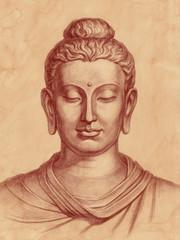 Изображение Будды, графика на старой бумаге.